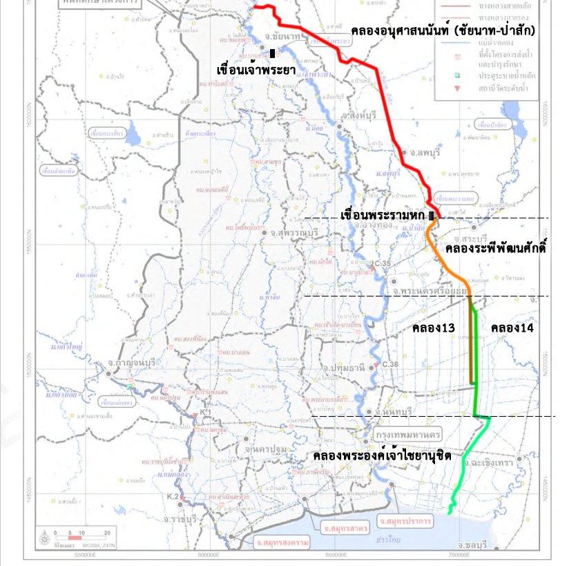 คลองระบายน้ำฝั่งตะวันออก ตามแผนของกรมชลประทาน