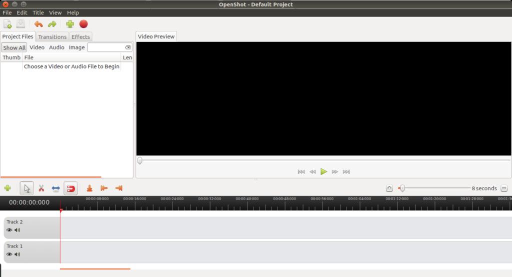 หน้าตาโปรแกรม Openshot บน Ubuntu