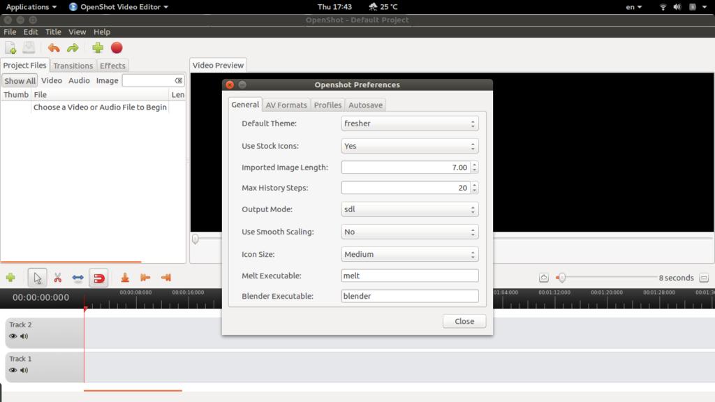 Openshot Preference box