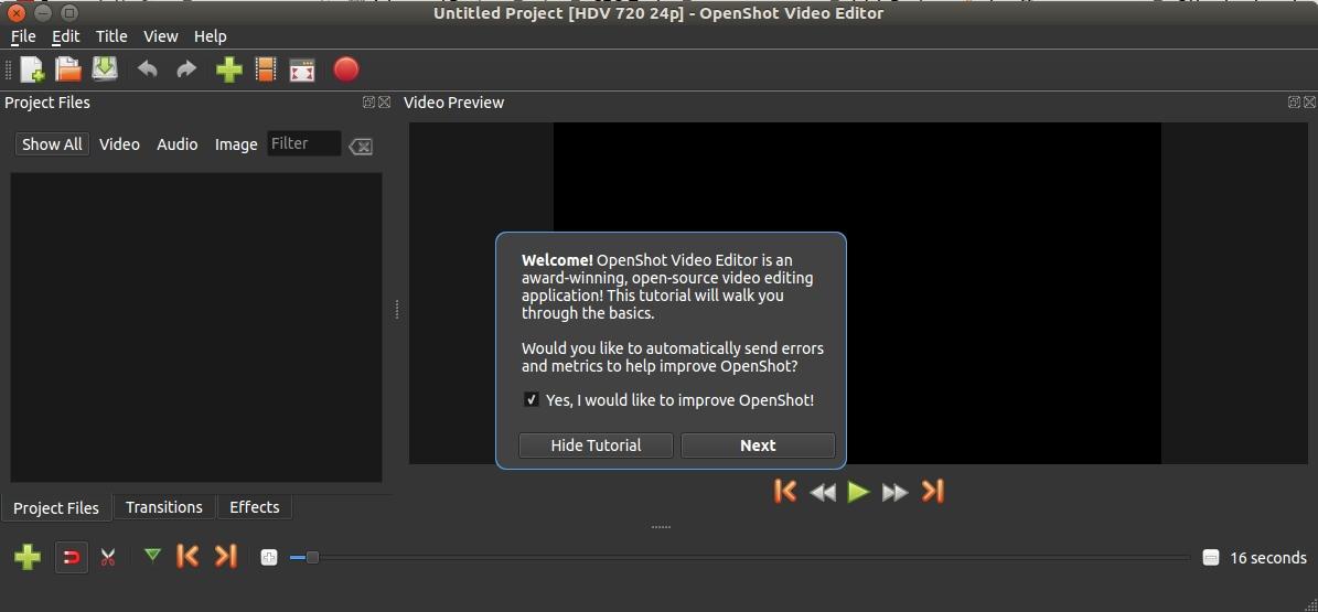 หน้าตาโปรแกรม Openshot ใหม่
