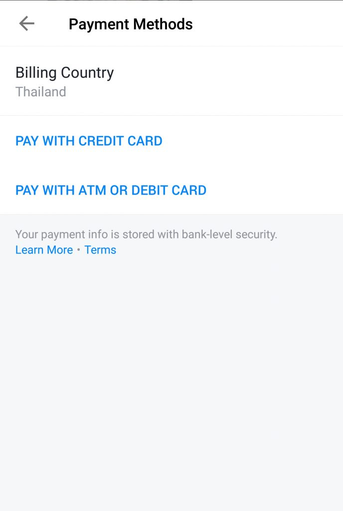 Facebook Payment: Adding Payment Method