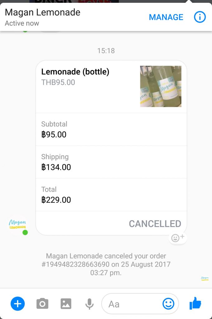 Canceled order in Facebook Payment