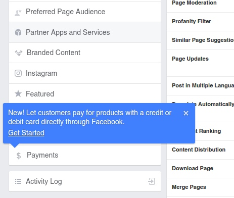 Payments menu location in Facebook Page Setting