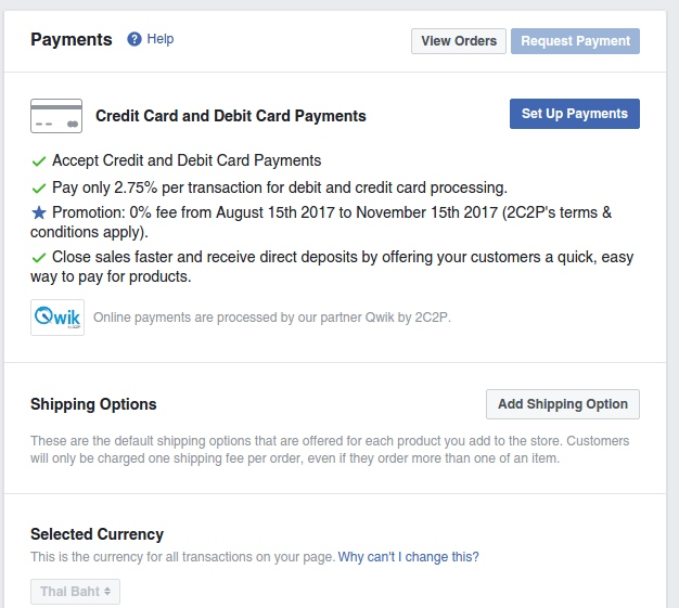 Payments section in Facebook Page Setting