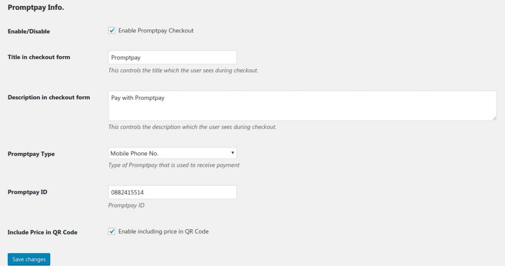 Thai Promptpay Woocommerce Plugin 1.0: setting page